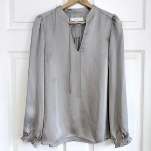 Loft light brown long sleeve silk blouse